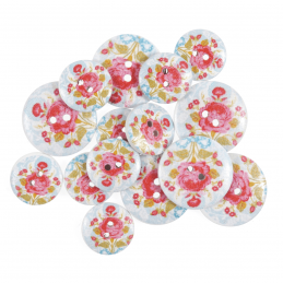 15 x Assorted Lace Rose Wooden Craft Buttons 18mm - 25mm
