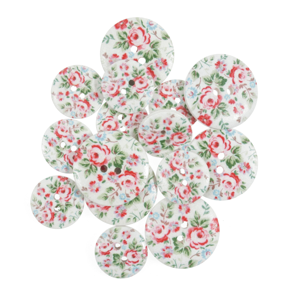 15 x Assorted Vintage Rose Stamp Wooden Craft Buttons 18mm - 25mm