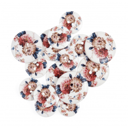 15 x Assorted Rose Flower Bloom Wooden Craft Buttons 18mm - 25mm