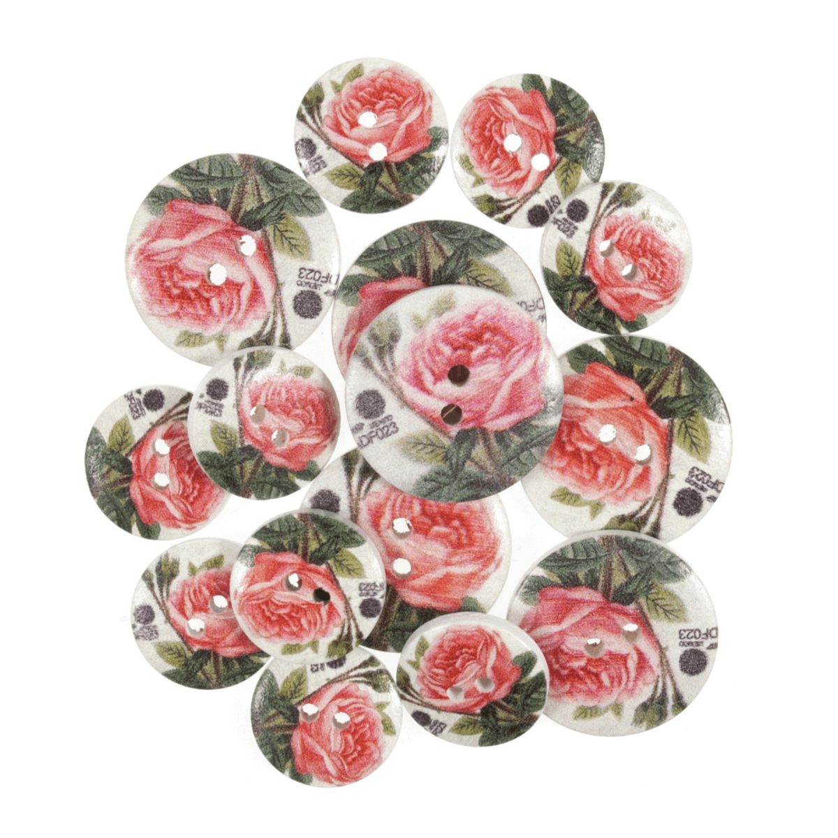 15 x Assorted Mexican Rose  Wooden Craft Buttons 18mm - 25mm