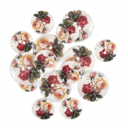 15 x Assorted Violet Peach Rose Wooden Craft Buttons 18mm - 25mm