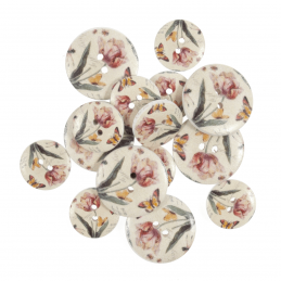 15 x Assorted Butterfly Tulip Flower Wooden Craft Buttons 18mm - 25mm
