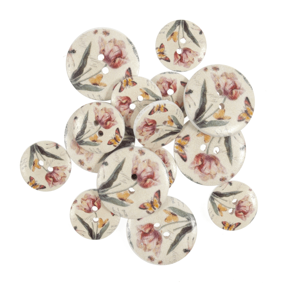 15 x Assorted Floral Red Flowers Wooden Craft Buttons 18mm - 25mm