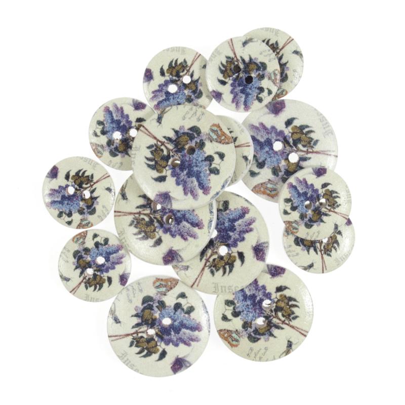 25mm 15 x Assorted Rose Flower Bloom Wooden Craft Buttons 18mm