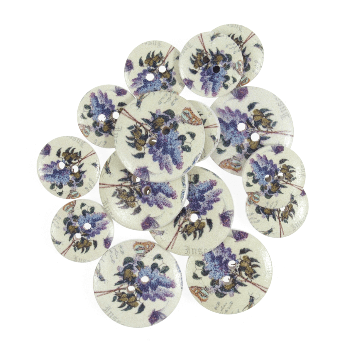 15 x Assorted Butterfly Tulip Flower Wooden Craft Buttons 18mm - 25mm