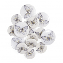 15 x Assorted Lilac Butterfly Stamps Wooden Craft Buttons 18mm - 25mm