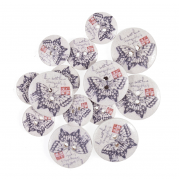 15 x Assorted Purple Butterfly Stamps Wooden Craft Buttons 18mm - 25mm