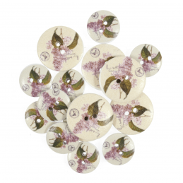 15 x Assorted Floral Lilac Stock Flowers Wooden Craft Buttons 18mm - 25mm