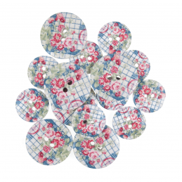 15 x Assorted Check Rose Gingham Wooden Craft Buttons 18mm - 25mm
