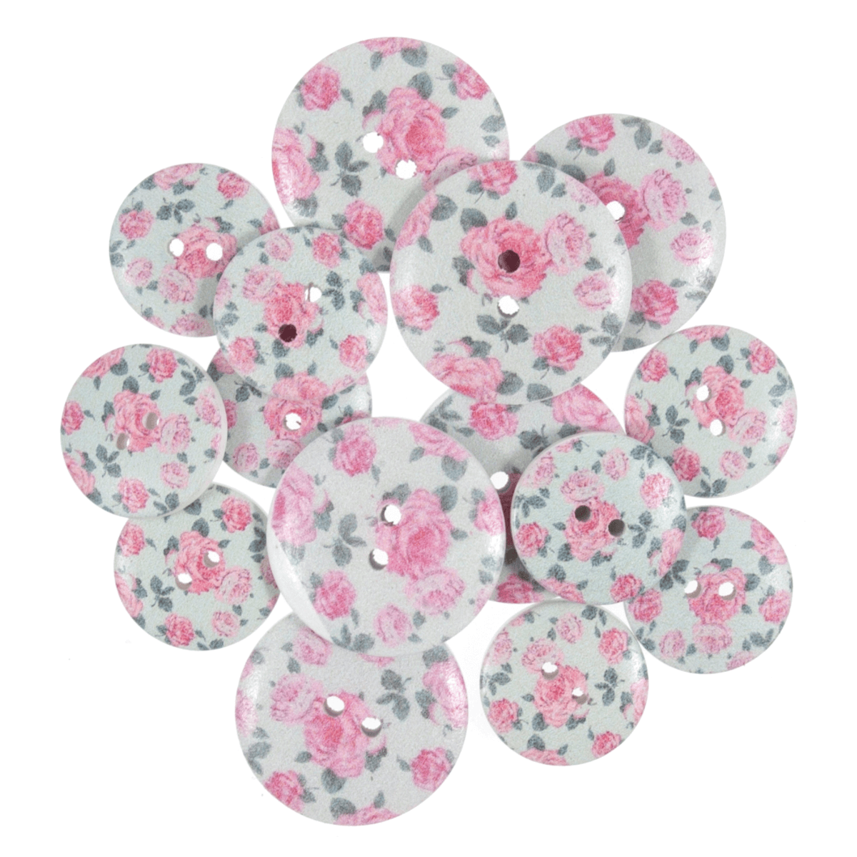 15 x Assorted Grey Vintage Rose Wooden Craft Buttons 18mm - 25mm