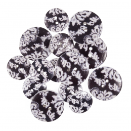 15 x Assorted Black Floral Paisley Craft Buttons 18mm - 25mm