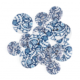 15 x Assorted Royal Floral Toile Craft Buttons 18mm - 25mm