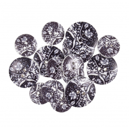 15 x Assorted Negative Paisley Toile Craft Buttons 18mm - 25mm