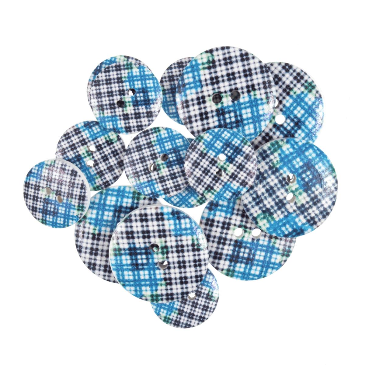 15 x Assorted Blue Check Tartan Craft Buttons 18mm - 25mm