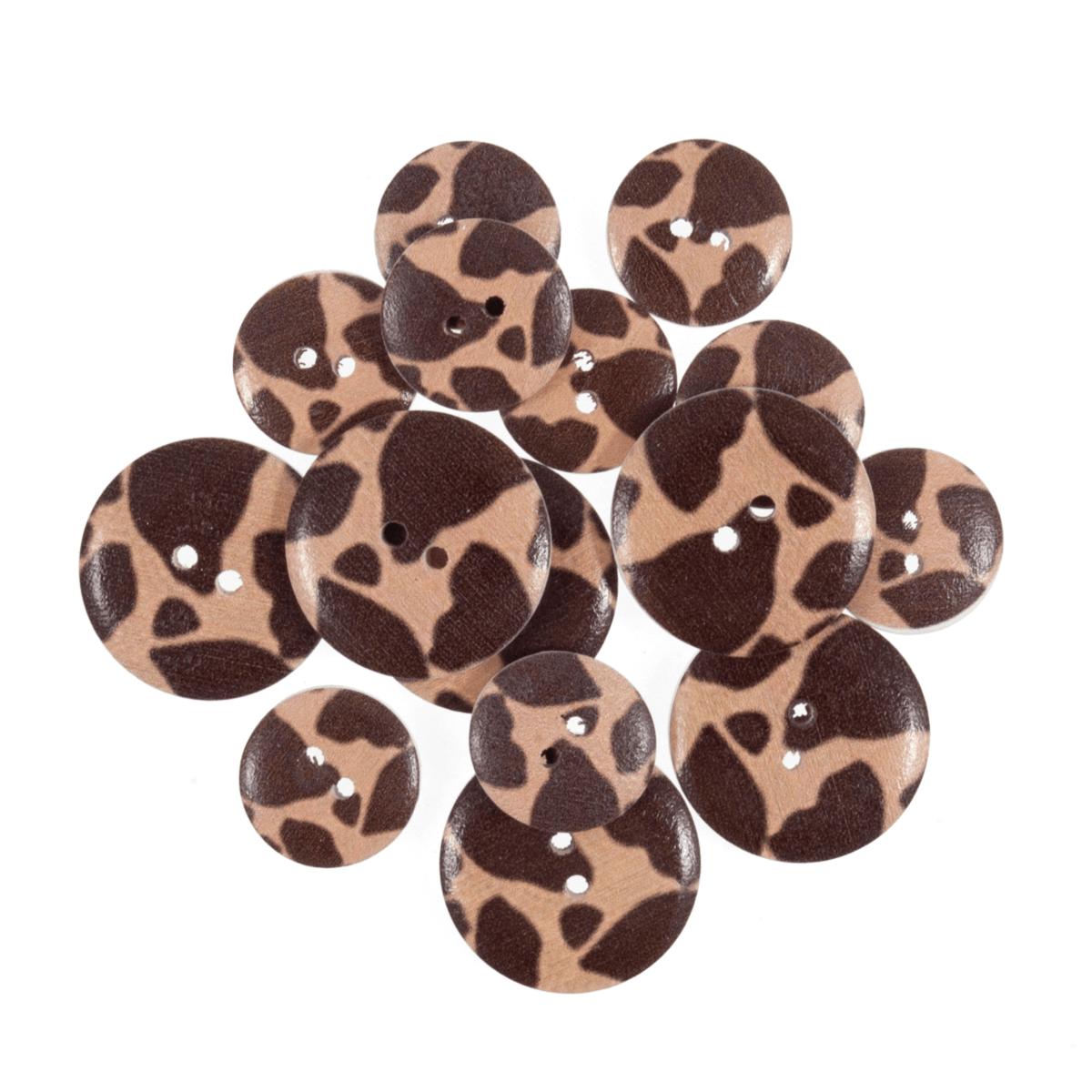 15 x Assorted Large Giraffe Animal Print Wooden Craft Buttons 18mm - 25mm