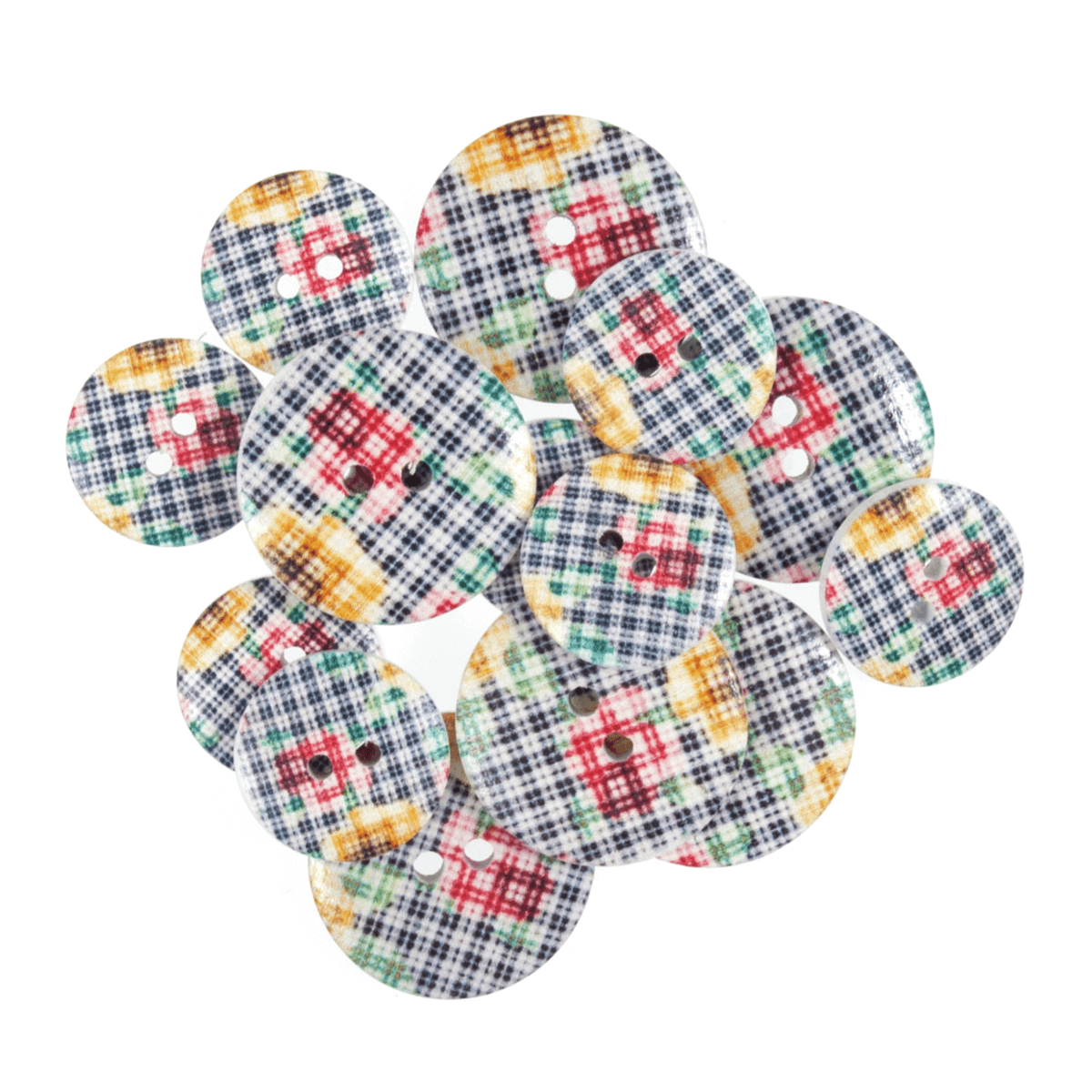 15 x Assorted Gingham Flowers Wooden Craft Buttons 18mm - 25mm