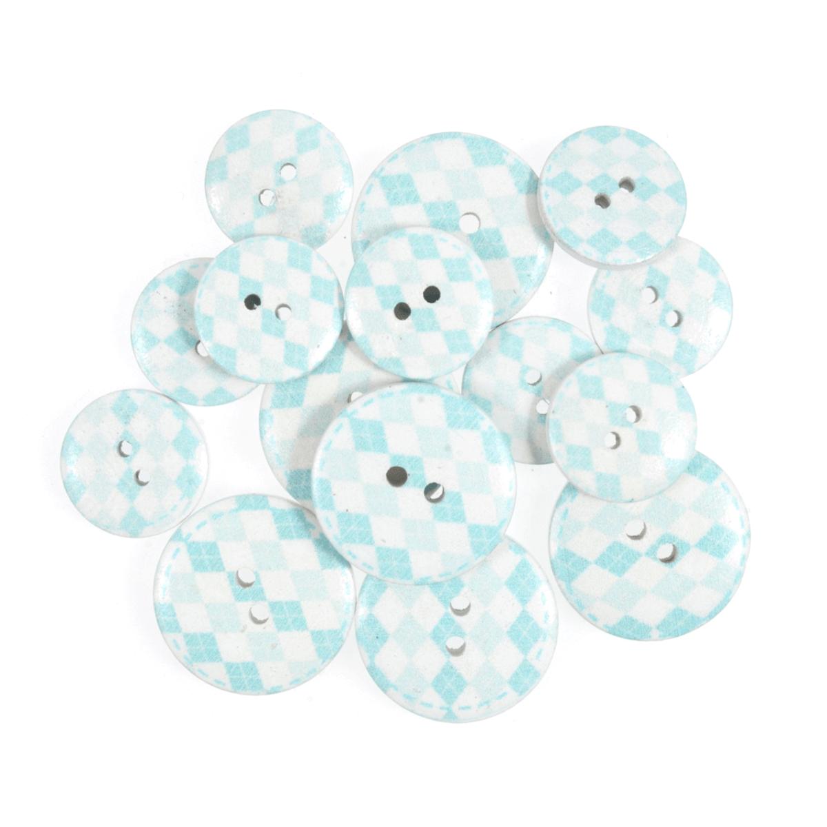 15 x Assorted Diamond Stripe Wooden Craft Buttons 18mm - 25mm