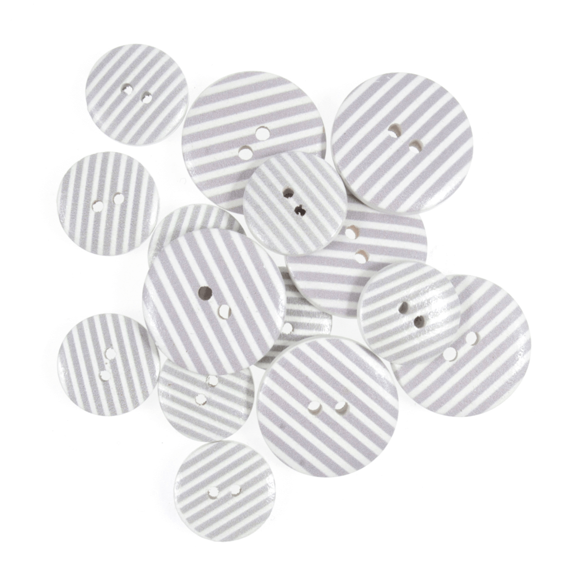 15 x Assorted Candy Stripes Wooden Craft Buttons 18mm - 25mm