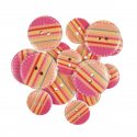 15 x Assorted Bright Candy Stripes Wooden Craft Buttons 18mm - 25mm