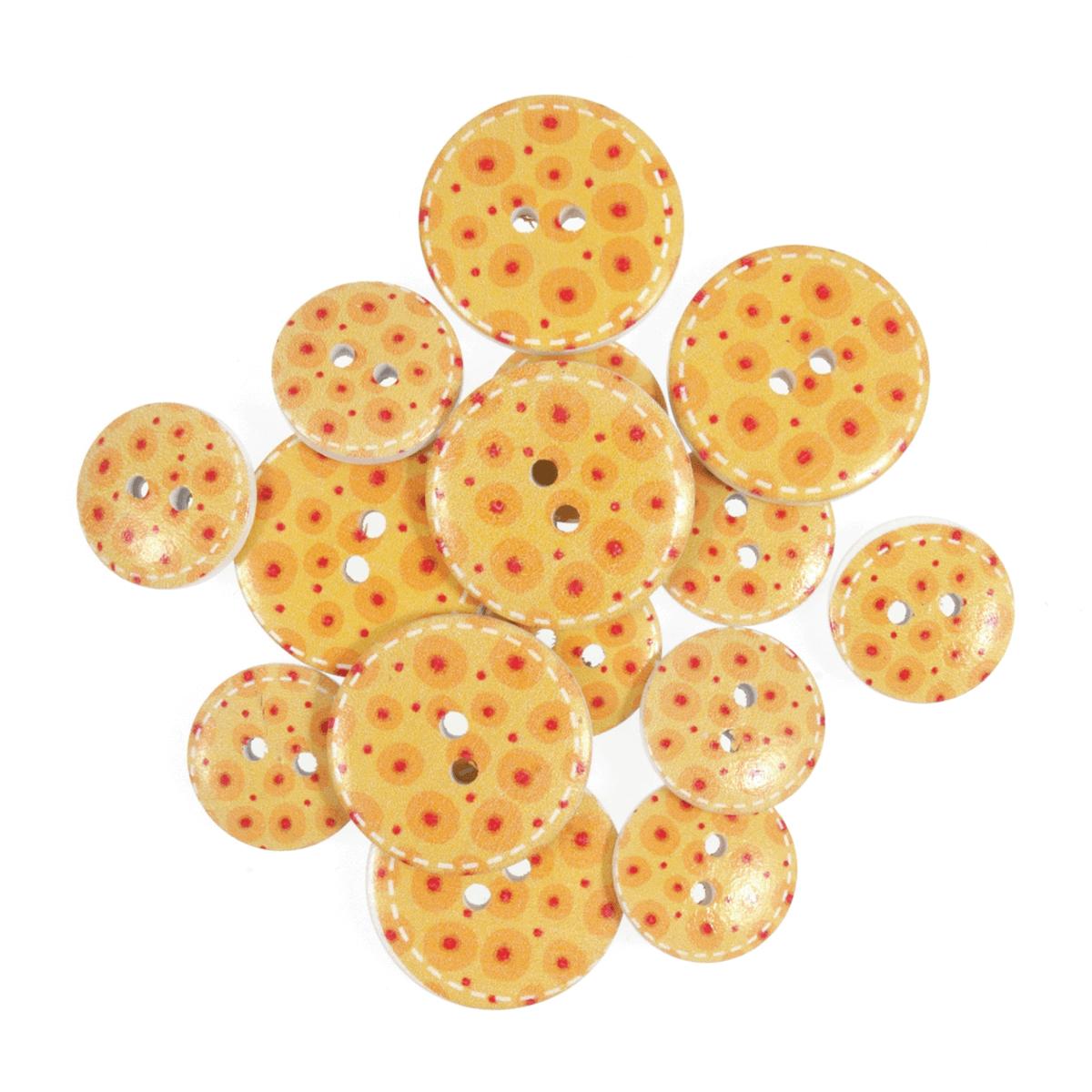 15 x Assorted Egg Yolk Spots Wooden Craft Buttons 18mm - 25mm
