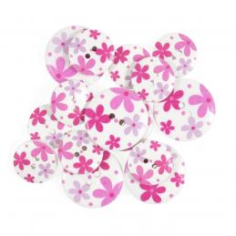 15 x Assorted Bright Hawaii Flower Wooden Craft Buttons 18mm - 25mm