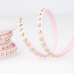 Pink Faux Suede Studded Trim 6mm x 1m Trimming Craft