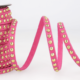 Fuchsia Faux Suede Studded Trim 6mm x 1m Trimming Craft