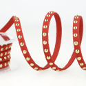 Red Faux Suede Studded Trim 6mm x 1m Trimming Craft