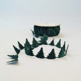 1 Metre Satin Padded Green Christmas Tree Cut Outs Bertie's Bows Ribbon Trim