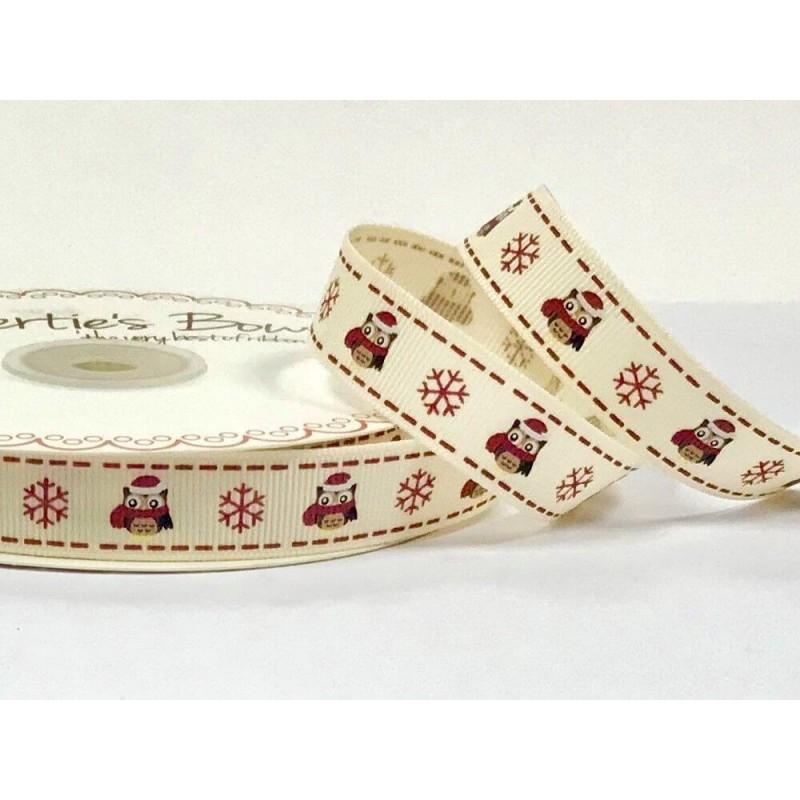 1 Metre 16mm Bertie's Bows Christmas Owl and Snowflake Grosgrain Craft Ribbon