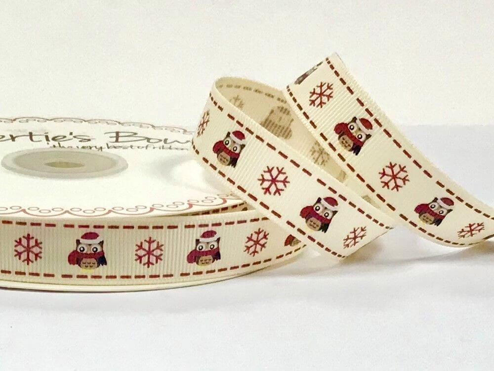 1 Metre 16mm Bertie's Bows Christmas Owl and Snowflake Grosgrain Craft Ribbon
