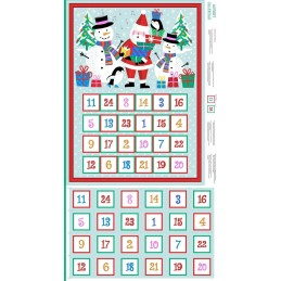 100% Cotton Fabric Makower Christmas Xmas Jolly Santa Advent Calendar Panel