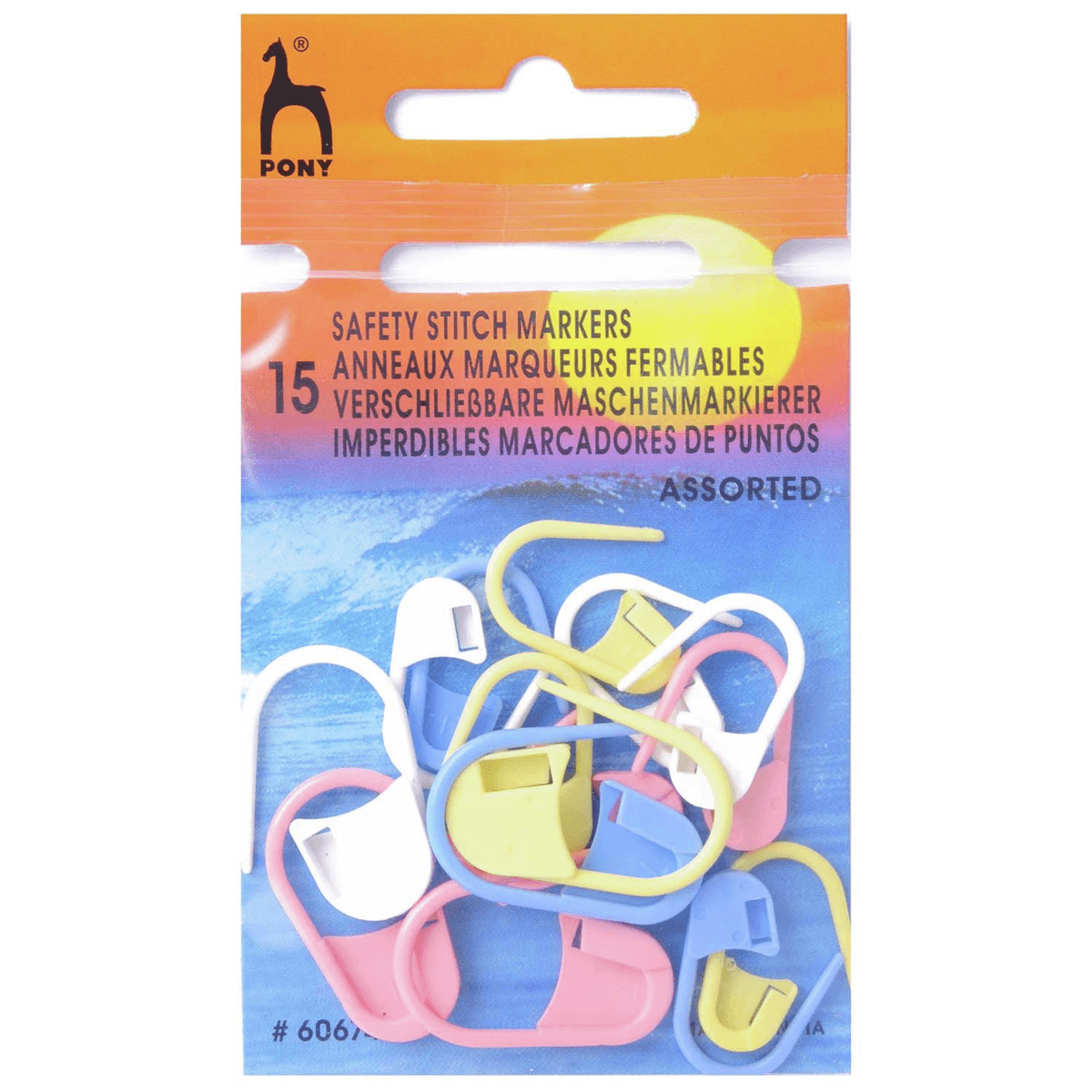 15 x Pony Safety Stitch Markers, Assorted Colours and Sizes