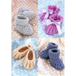 Sirdar Knitting Pattern 1487 Pitcot Slip Tuck Edge Baby Bootees Shoes Socks