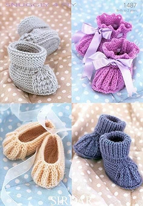 Sirdar Knitting Pattern 1487 Pitcot Slip Tuck Edge Baby Bootees Shoes Socks