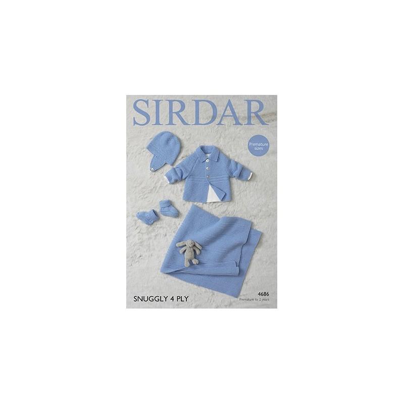 Sirdar Knitting Pattern 4686 Baby Blanket Bootees Jacket Hat Premature Babies