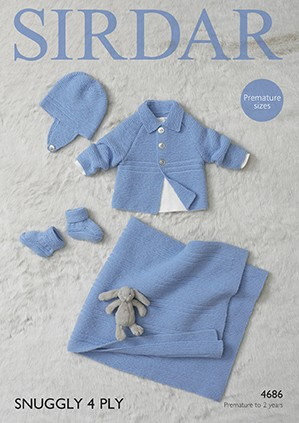 Sirdar Knitting Pattern 4686 Baby Blanket Bootees Jacket Hat Premature Babies