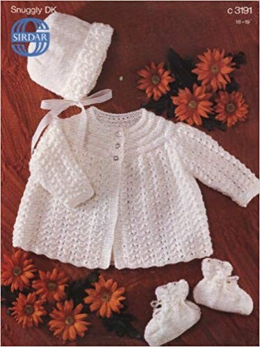 Sirdar Knitting Pattern 3191 Baby Matinee Coat Bonnet Booties