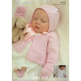 Sirdar Knitting Pattern 1818 Baby Hat Bootees Cardigan Mittens