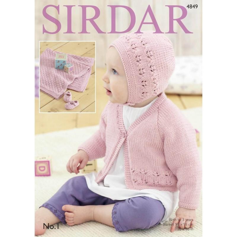 Sirdar Knitting Pattern 4849 Baby Bonnet Blanket Cardigan