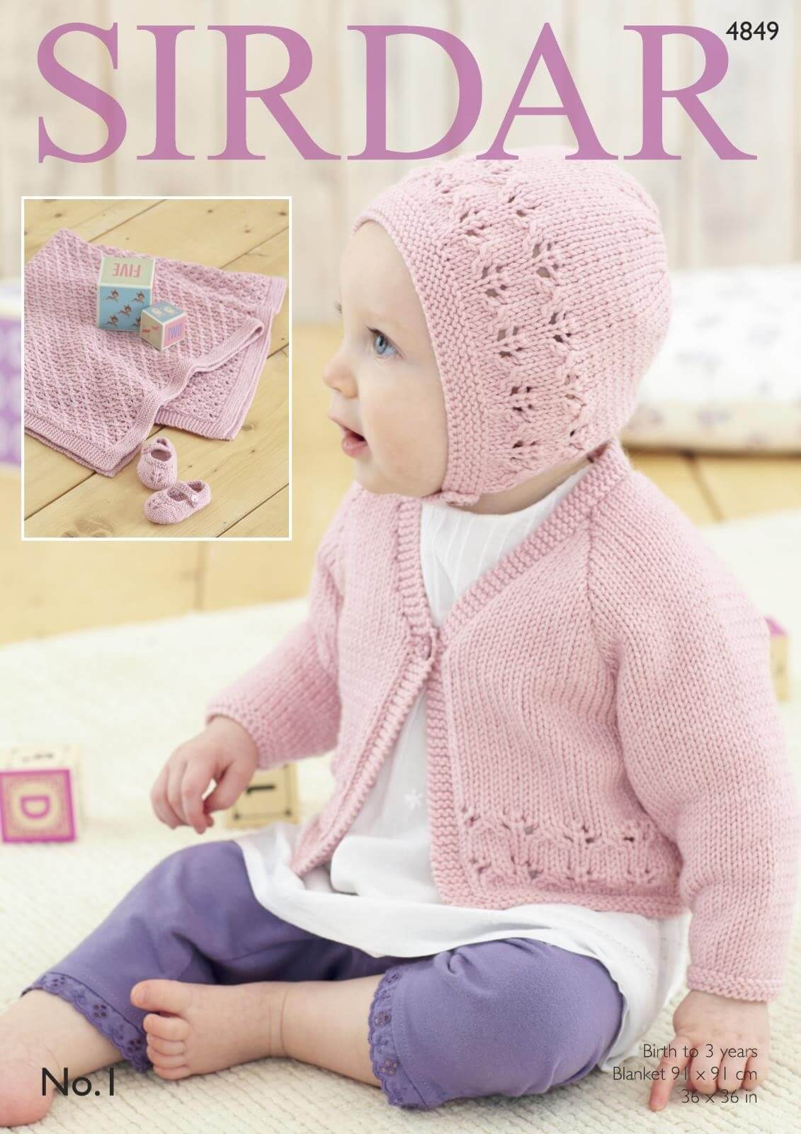 Sirdar Knitting Pattern 4849 Baby Bonnet Blanket Cardigan