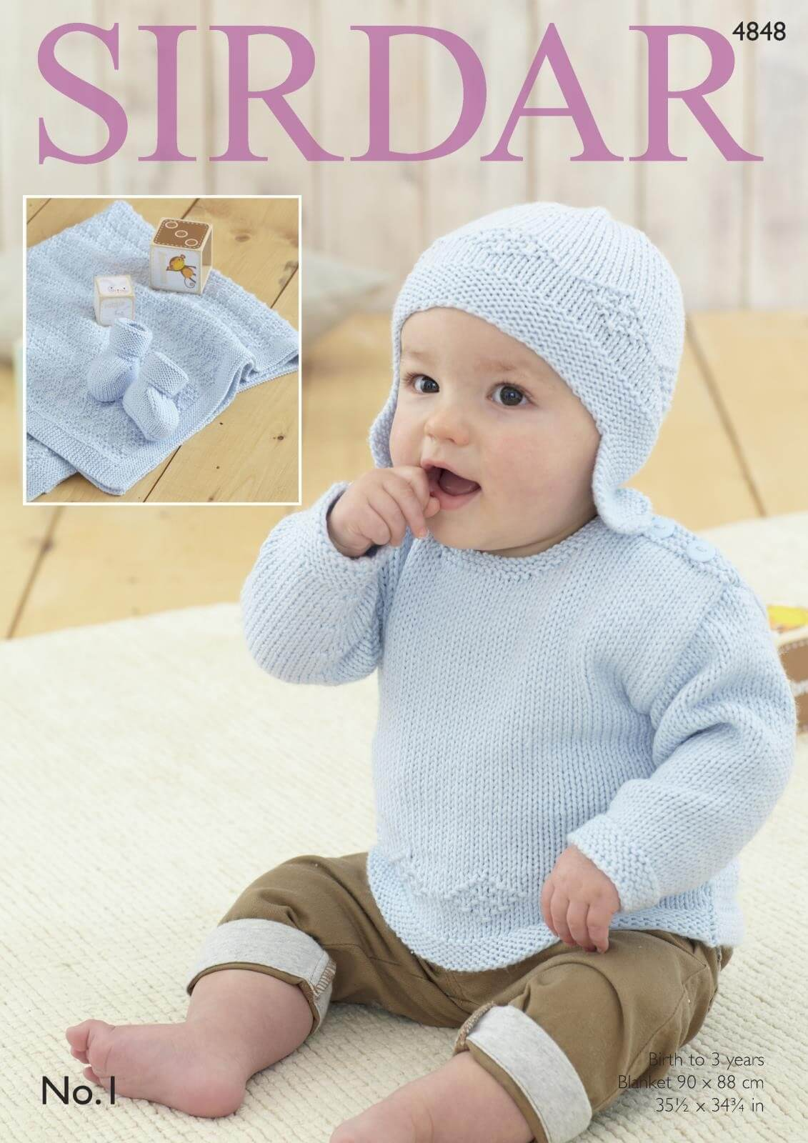 Sirdar Knitting Pattern 4848 Baby Bonnet Blanket Cardigan