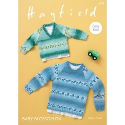 Hayfield Knitting Pattern 4934 Easy Knit V Neck Round Neck Sweater Jumper