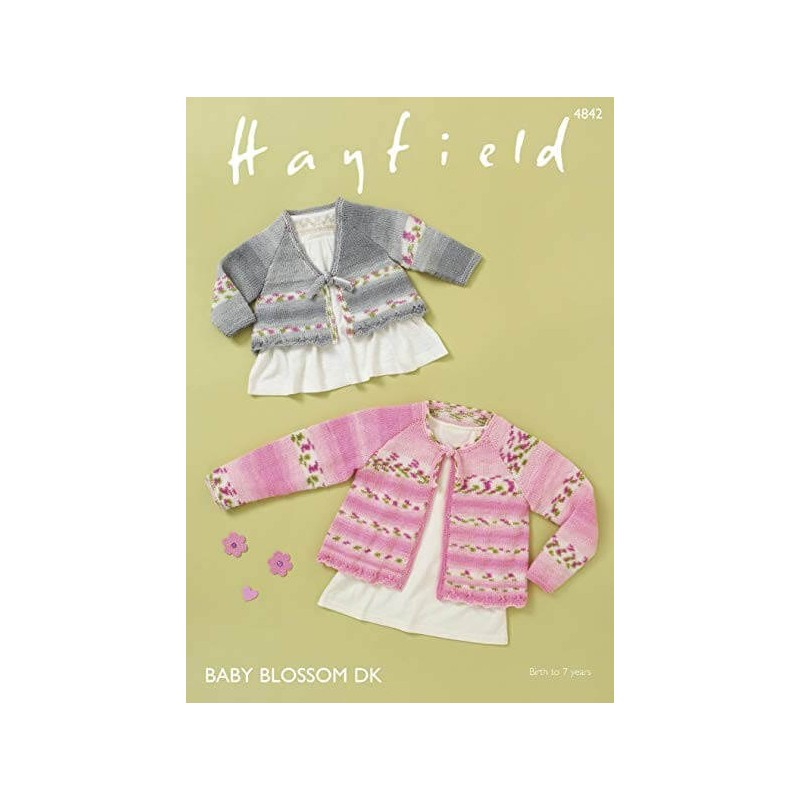 Hayfield Knitting Pattern 4842 V Neck Round Neck Cardigan Aged 0 - 7 Years