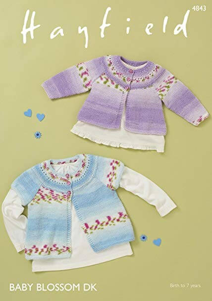 Hayfield Knitting Pattern 4843 Short Sleeve Long Sleeve Cardigan Aged 0 - 7 Years