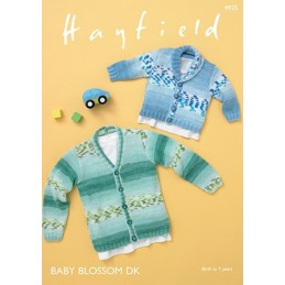 Hayfield Knitting Pattern 4935 V Neck Shawl Collar Cardigan Aged 0 - 7 Years