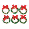 6 x Wreath with Bells Christmas Decorations Embellishments
