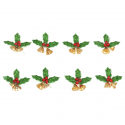8 x Holly with Bells Christmas Decorations Embellishments