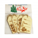4 x Wooden: Labels: Christmas Decorations Embellishments