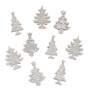 9 x Glitter Trees: Silver Christmas Decorations Embellishments